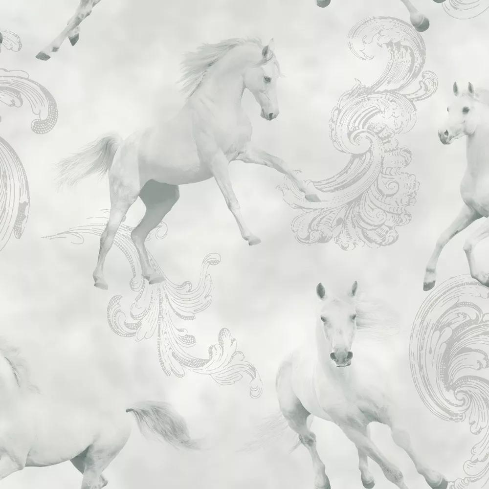 Tapéta fehér lovas mintával szürke alapon