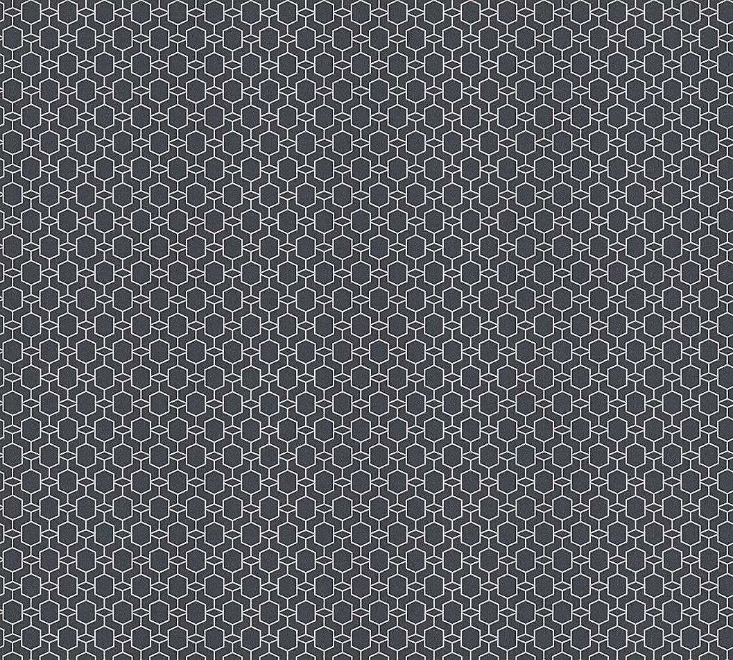 Tapéta fekete alapon ezüst sokszög mintás modern tapéta