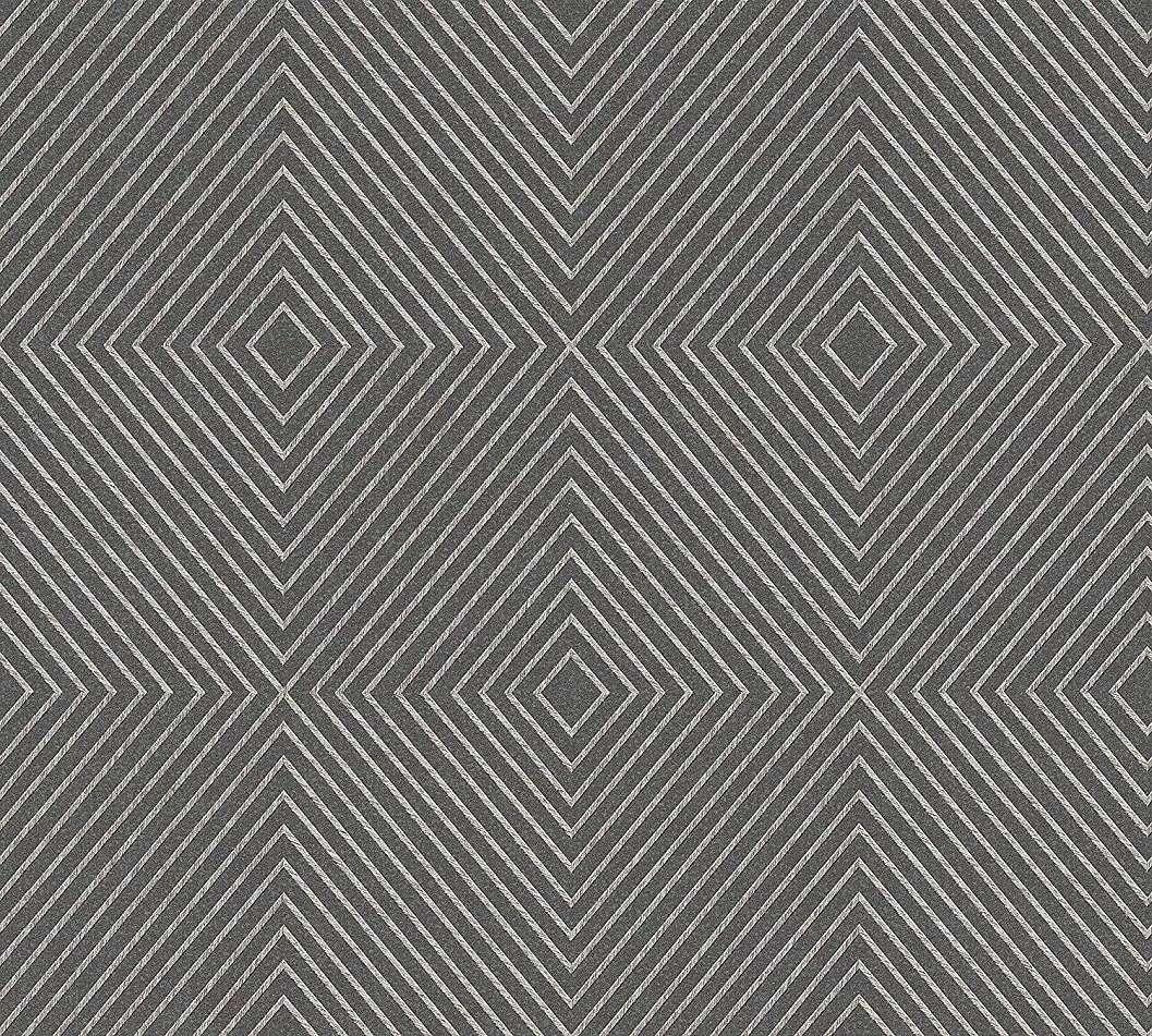 Tapéta geometriai mintával szürke, ezüst színekkel