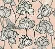 Tapéta geometrkus virág és madár mintával rózsaszín színben
