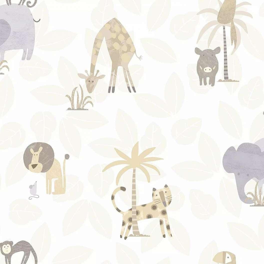 Tapéta gyerekszobába afrikai állat mintával. Oroszlán, zsiráf, elefánt