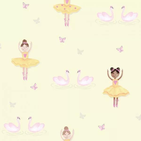 Tapéta gyerekszobába balerina mintával sárga színben