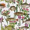 Tapéta hal mintával fehér alapon zöld virág mintákkal