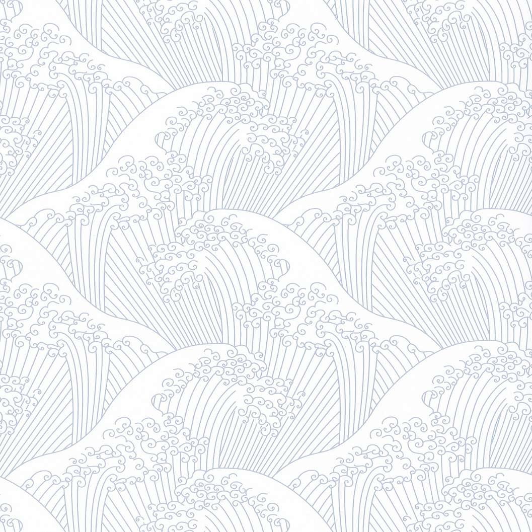 Tapéta klasszikus japán mintával kék fehér színben