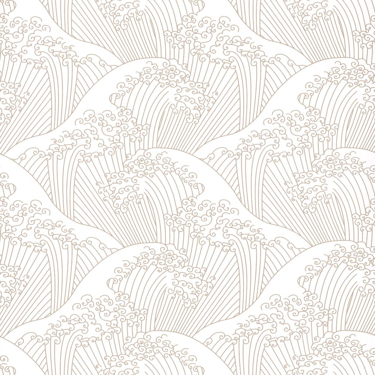 Tapéta klasszikus orientális japán mintával bézs fehér színben
