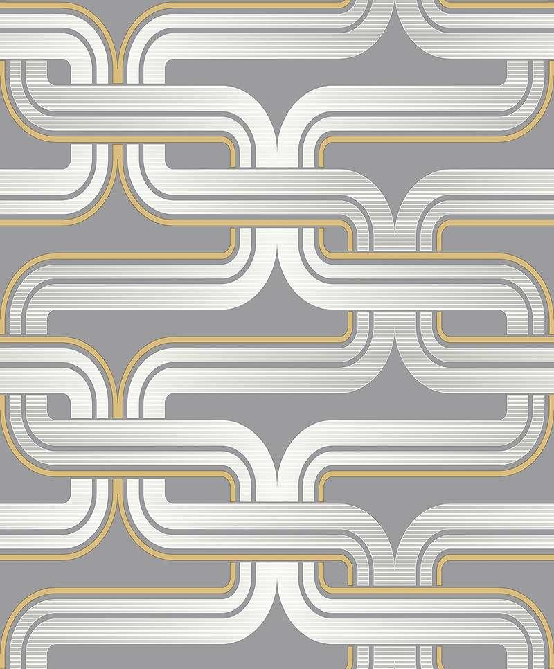 Tapéta klasszikus szürke sárga retró mintával