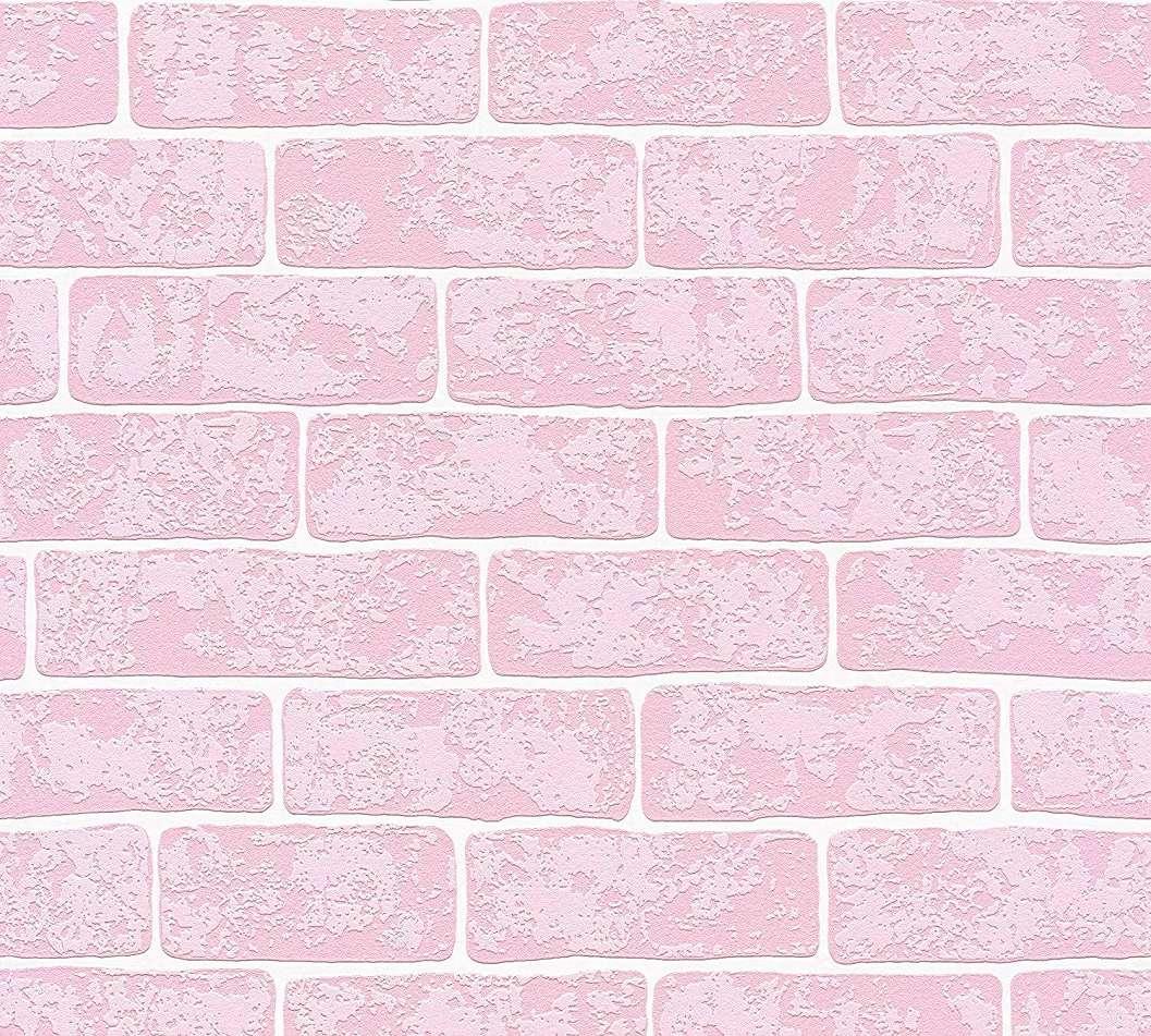 Tapéta lányszobába rózsaszín tégla mintával