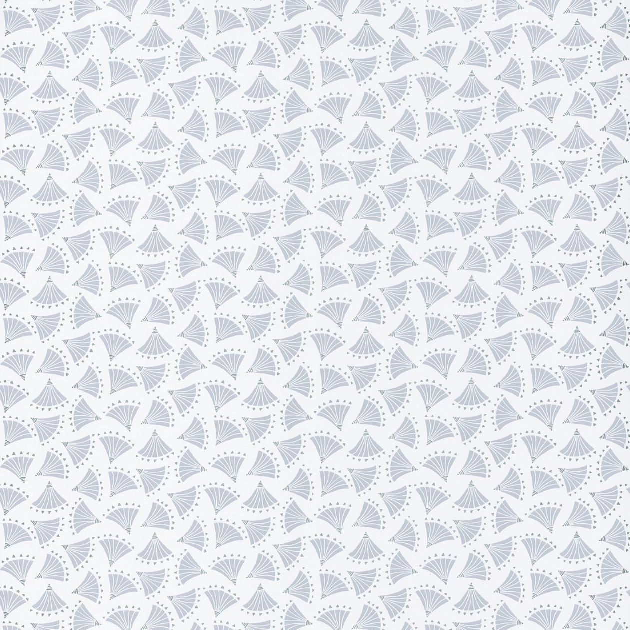 Tapéta legyező mintával halvány kék színben japán stílusban