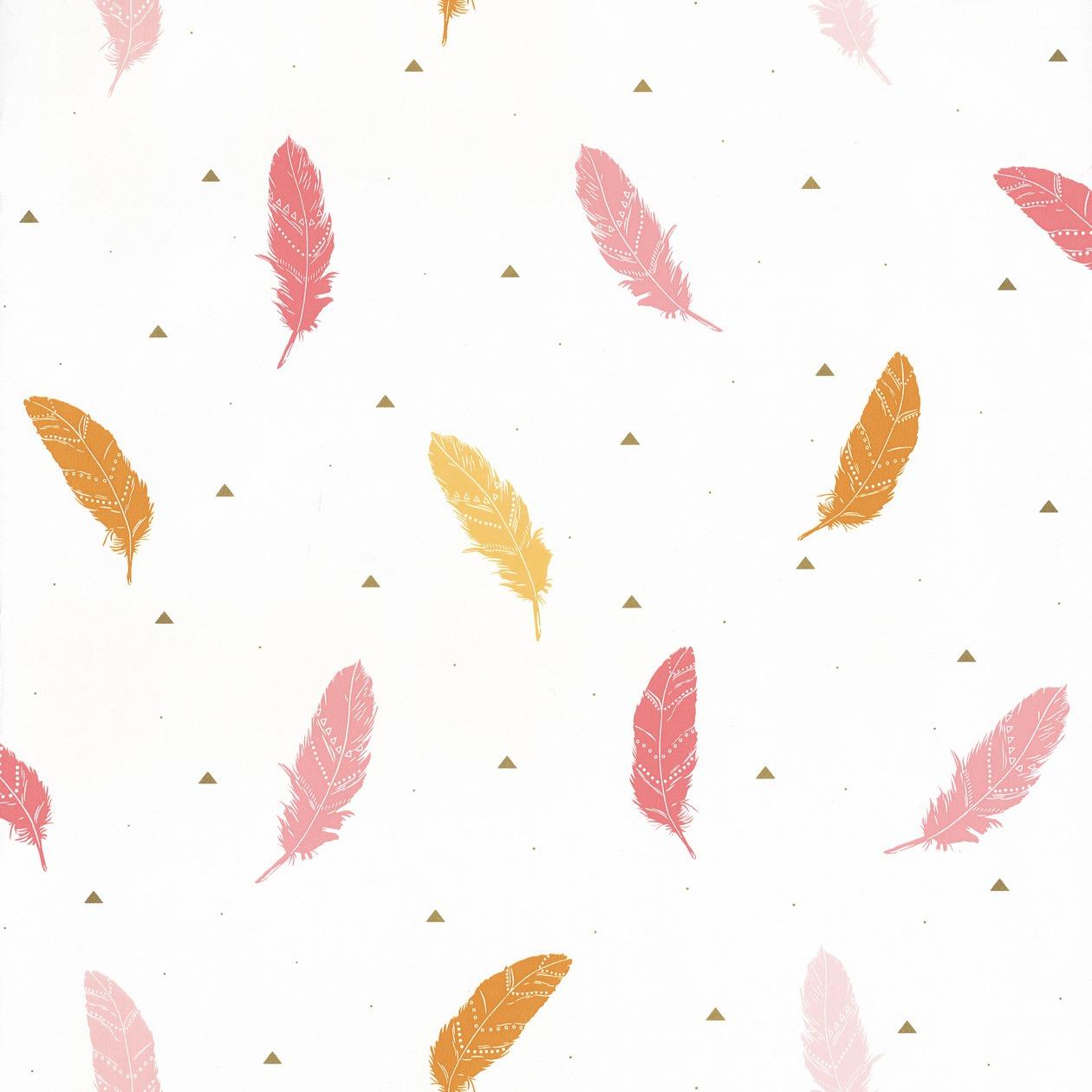 Tapéta madártoll mintával narancs rózsaszín színben