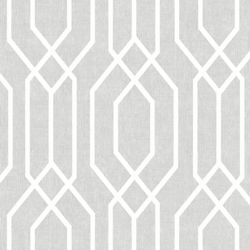 Tapéta modern geometriai mintával halványszürke színben