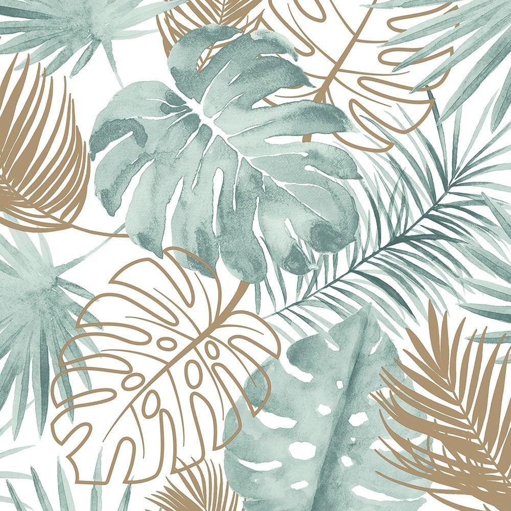 Tapéta pálmalevél mintával zöld, arany színekkel