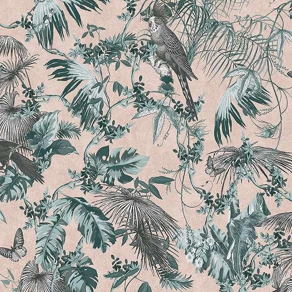 Tapéta Pálmalevél, papagály, mintával orientális trópusi stílusban