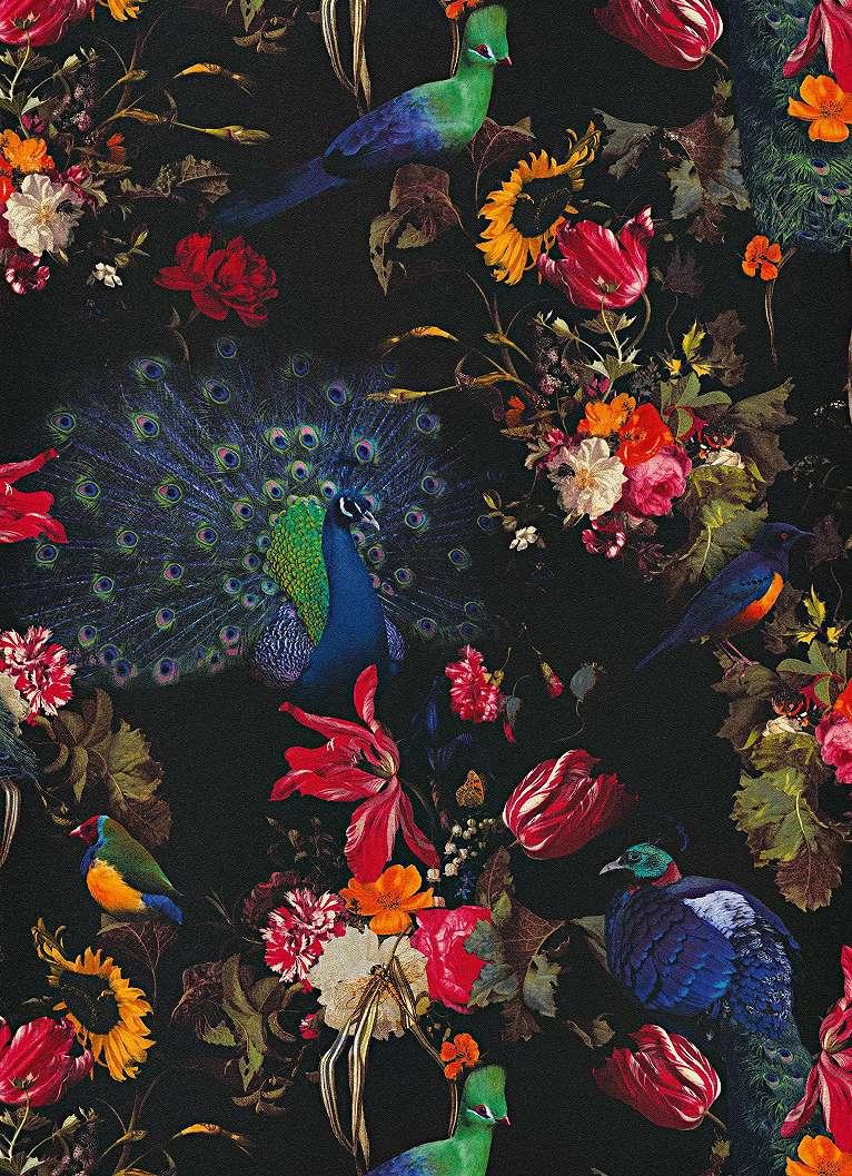 Tapéta páva és virágmintával fekete alapon