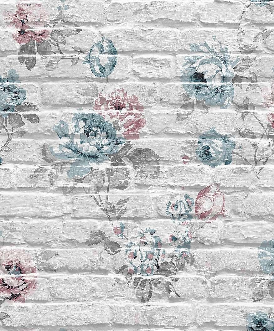 Tapéta rózsa mintákkal téglamintás alapon piros, kék rózsákkal