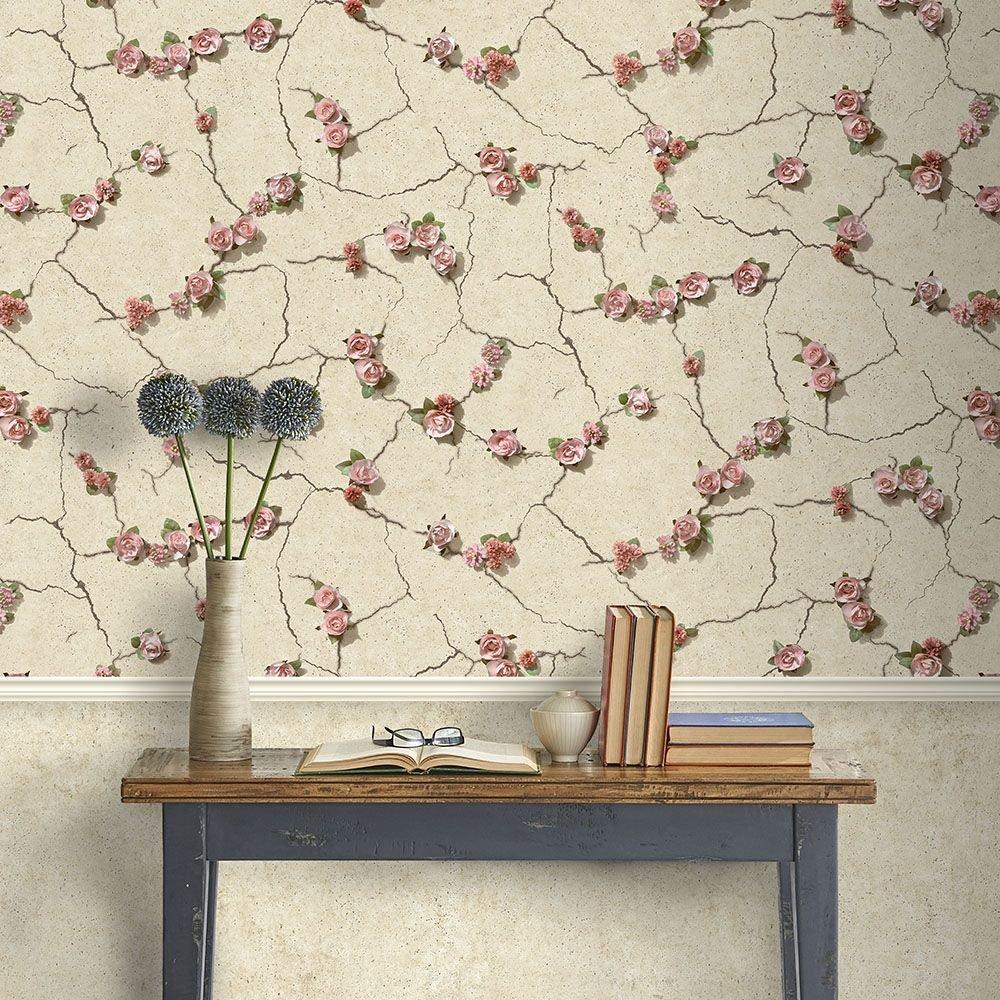 Tapéta rózsa mintával betonhatású alapon narancs, szürke színekkel