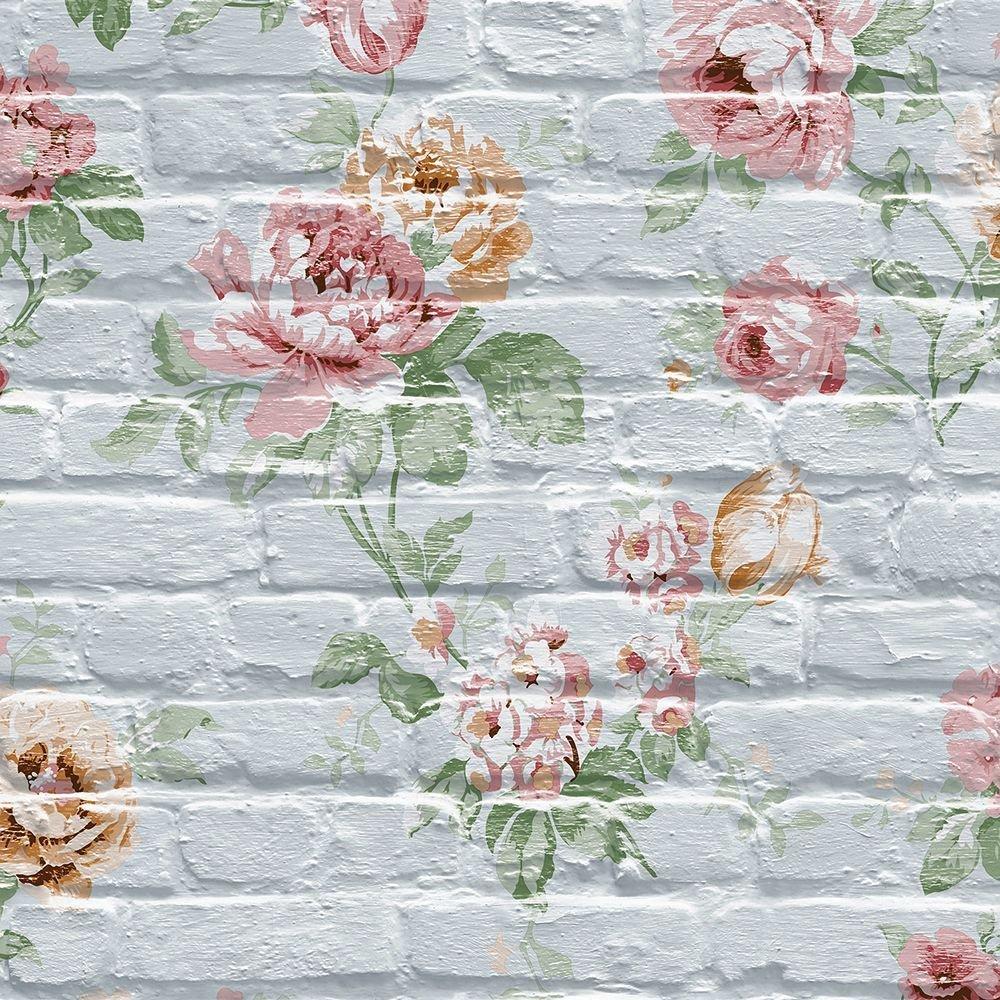 Tapéta rózsa mintával téglamintás alapon