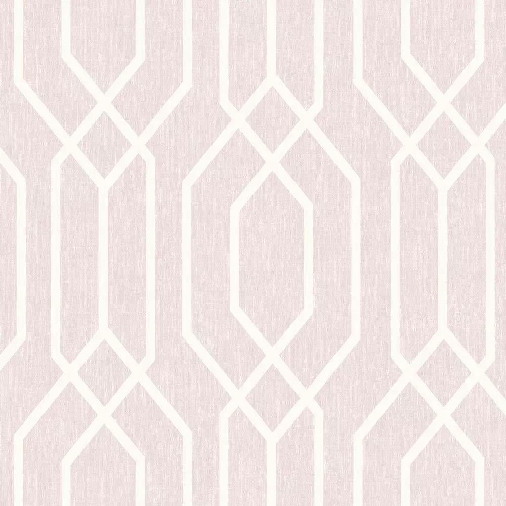 Tapéta rózsaszín alapon csíkos geometriai mintával