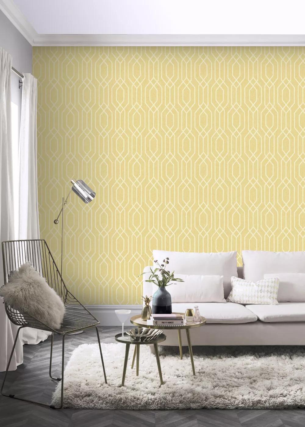 Tapéta sárga színben modern geometriai mintával