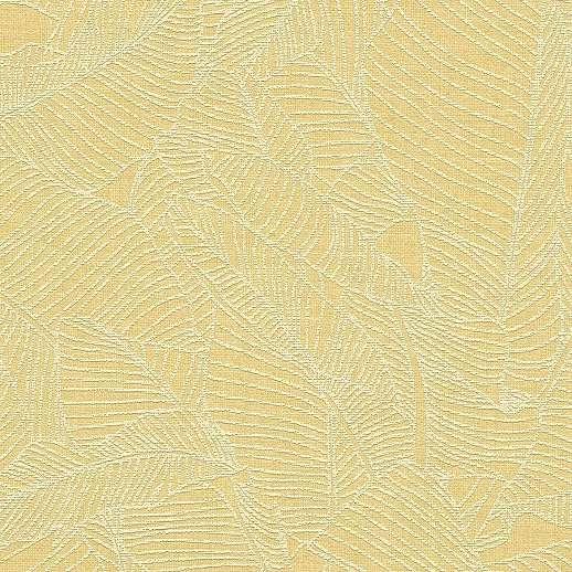 Tapéta sárga színben nagyléptékű levél mintával
