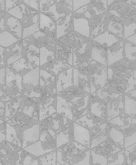 Tapéta sötétszürke kopottas geometria mintás