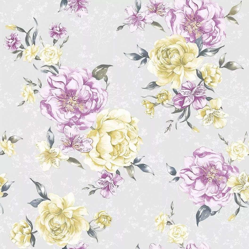 Tapéta szürke alapon lila, sárga rózsa mintával