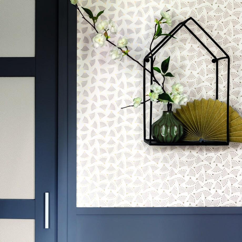 Tapéta szürke japán legyező mintával orientális stílusban