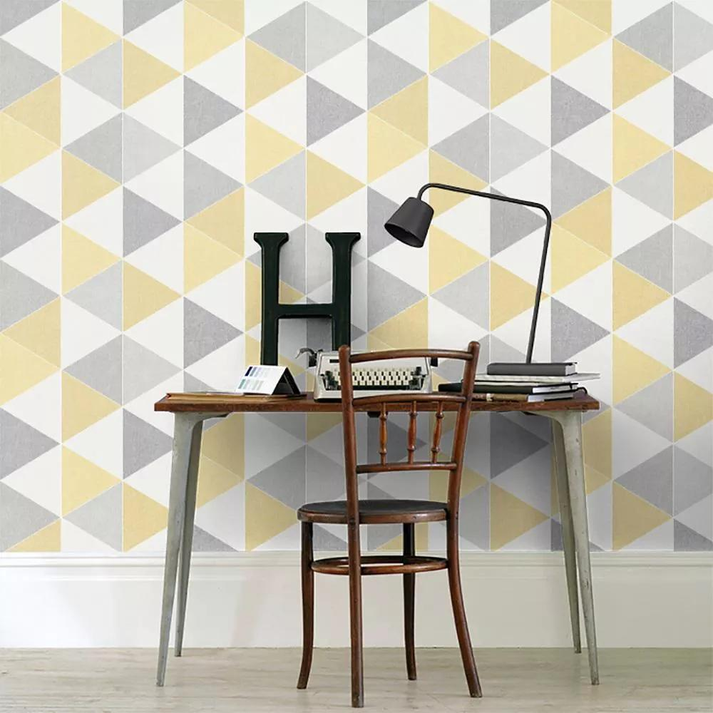 Tapéta szürke, sárga retro háromszög mintával
