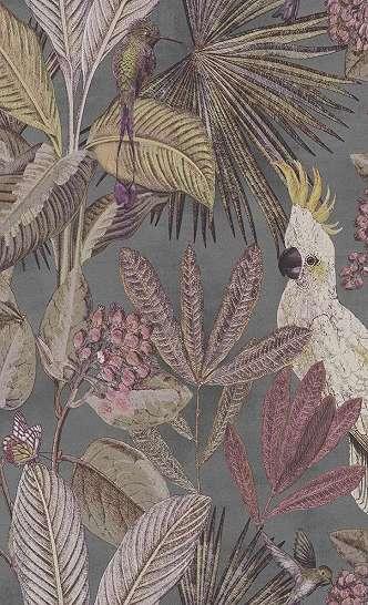 Tapéta trópusi mintával pálmafa, papagály mintával