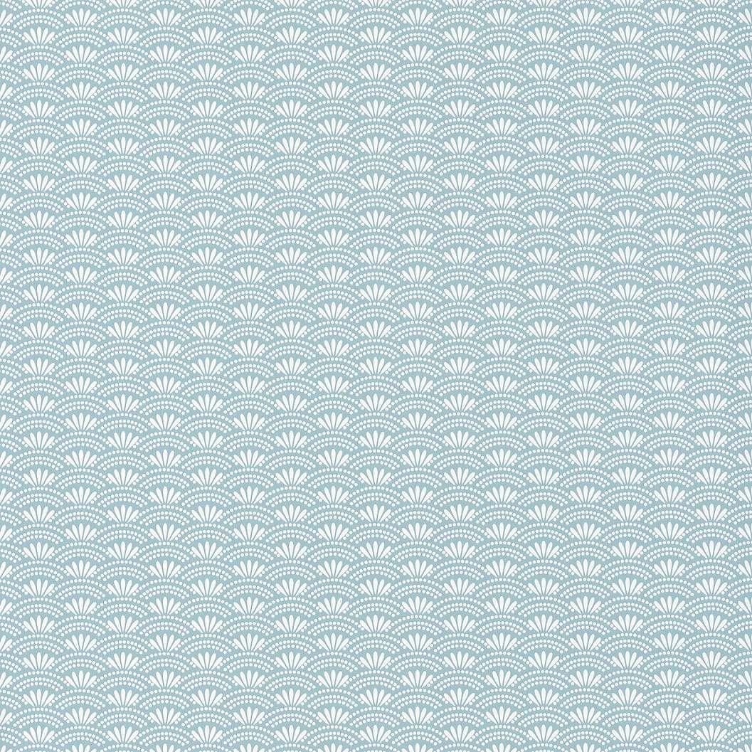 Tapéta világoskék alapon apró fehér orientális japán stílusú mintával
