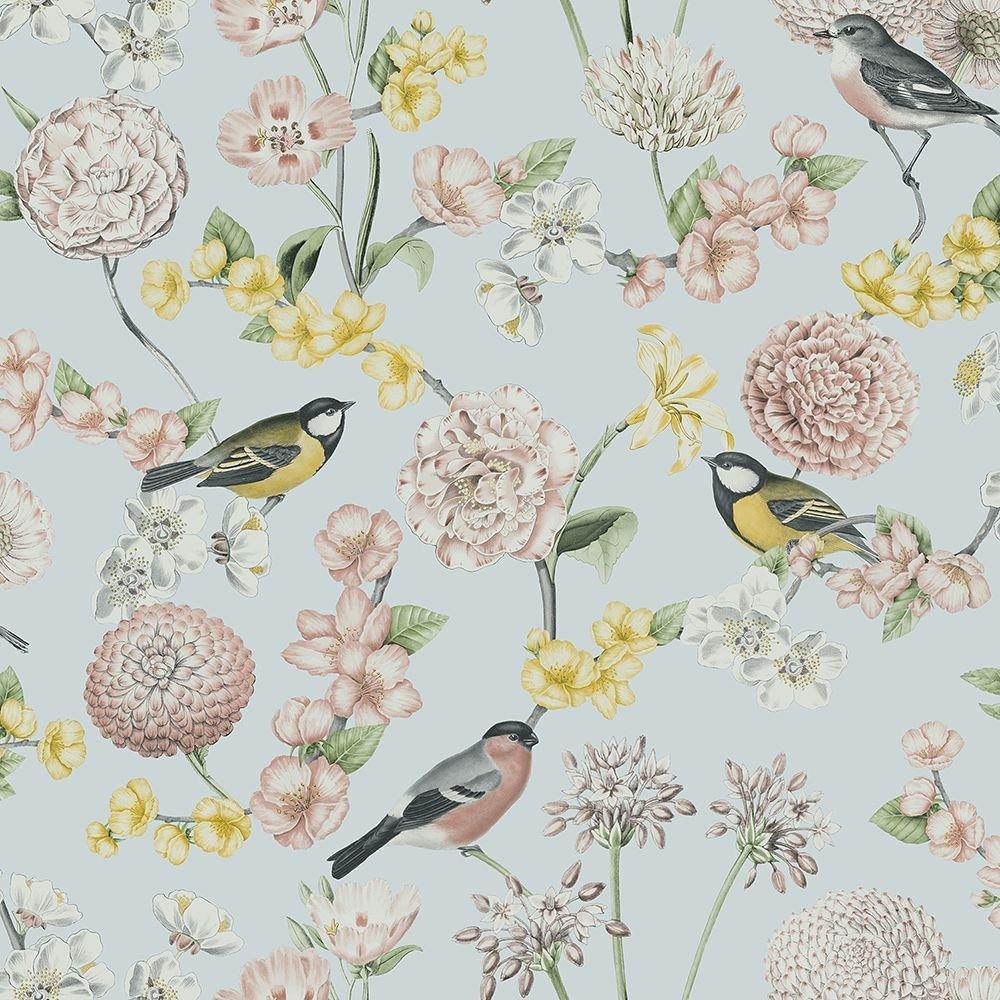 Tapéta világoskék alapon vintage madár virág mintákkal