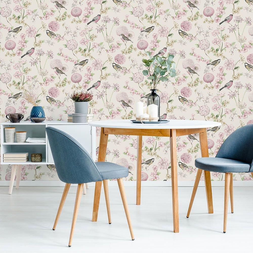 Tapéta vintage stílusban madár virág mintával rózsaszín színvilágban