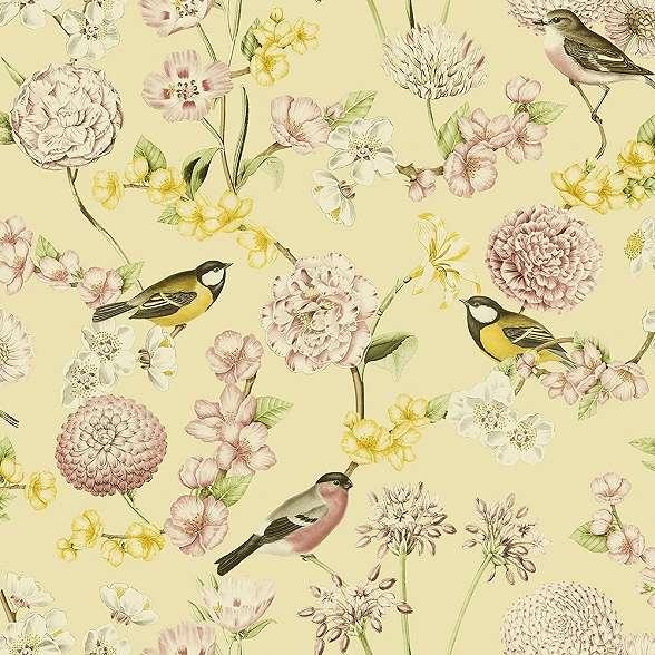 Tapéta vintage stílusban madár virág mintával sárga rózsaszín színekkel