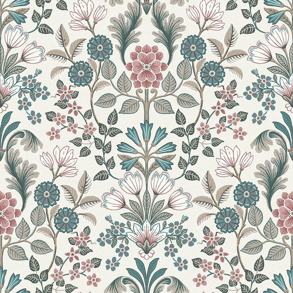 Tapéta virág mintával népies stílus zöld rózsaszín színekkel