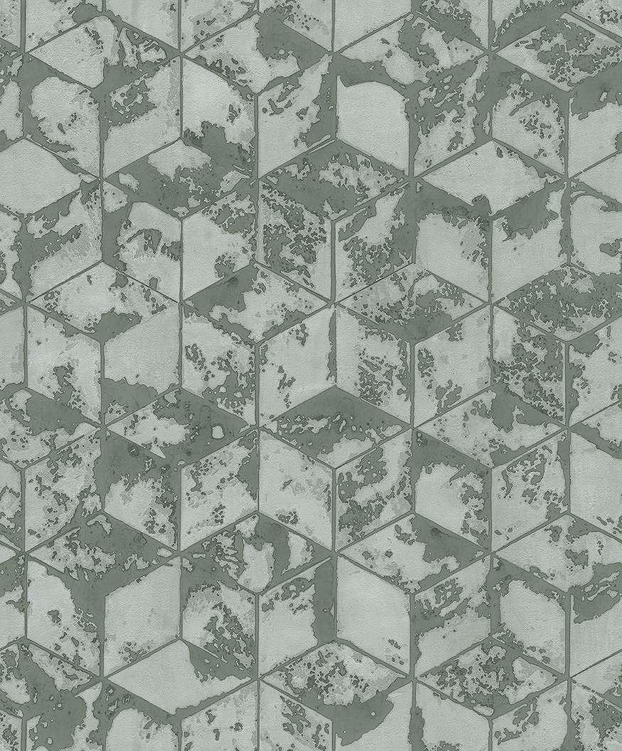 Tapéta zöldes alapszínnel geometria mintával