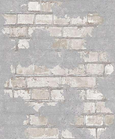 Tégla mintás loft stílusú tapéta szürke színben