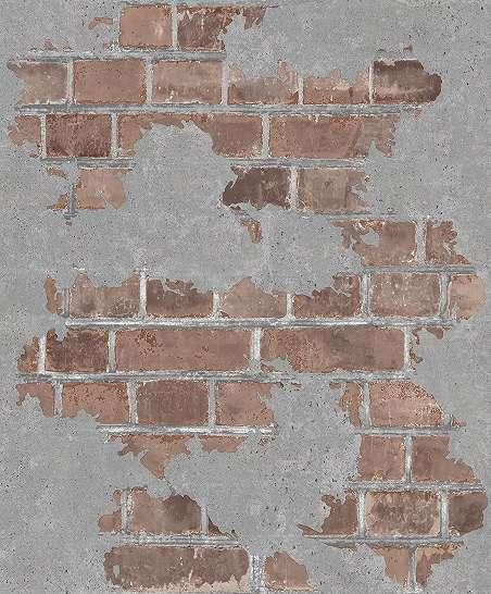 Tégla mintás tapéta vörös tégla mintával beton koptatással