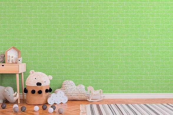 Tégla mintás zöld vlies tapéta gyerekszobába