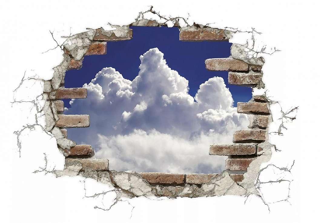Téglamintás fal felhőkkel falmatrica