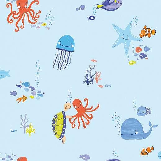 Tengeri élővilág gyerek tapéta, polip, bárna, medúza mintával