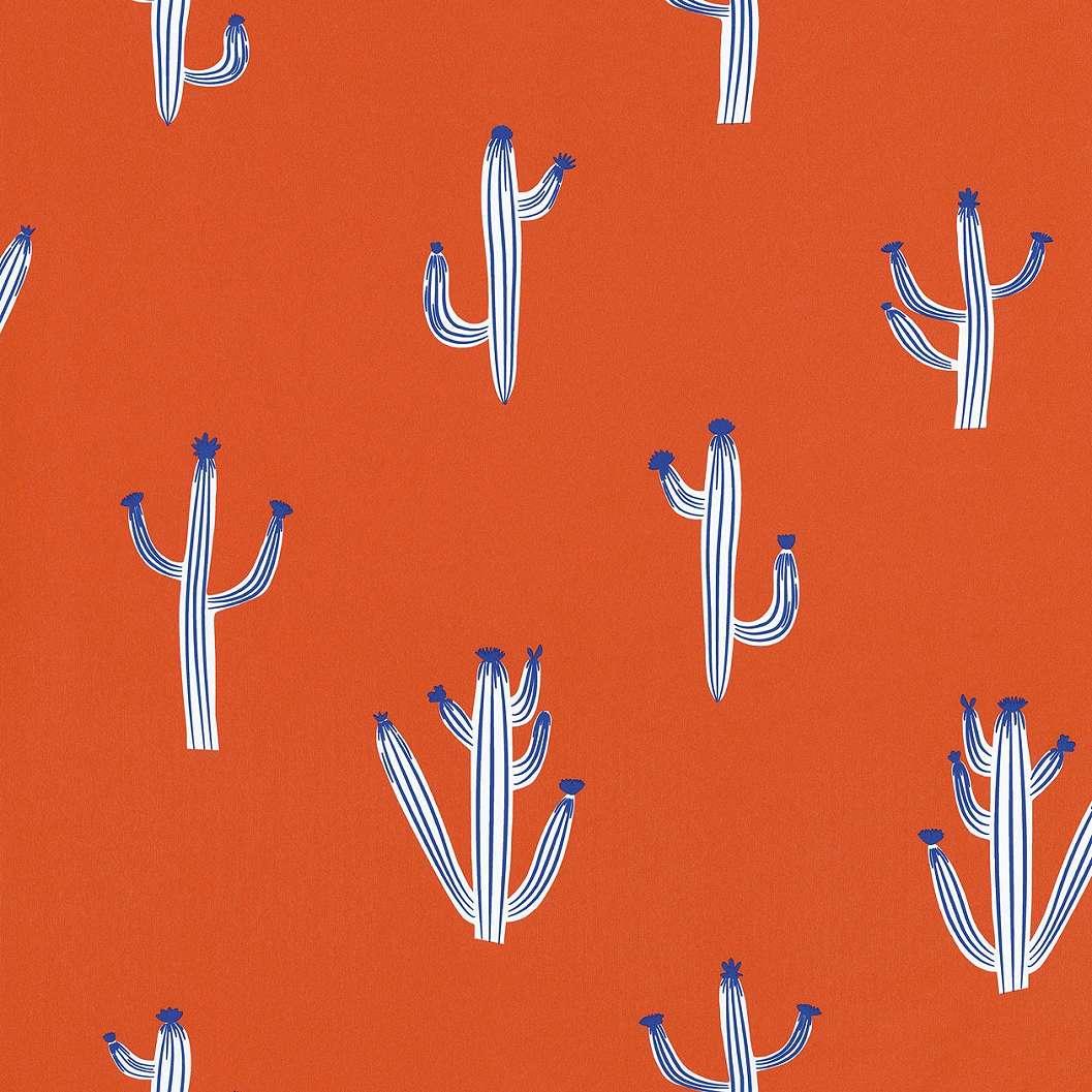 Terrakotta kaktusz mintás tapéta