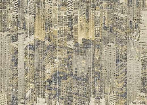 Textil hatású alapon felhőkarcolós modern tapéta szállodai minőség