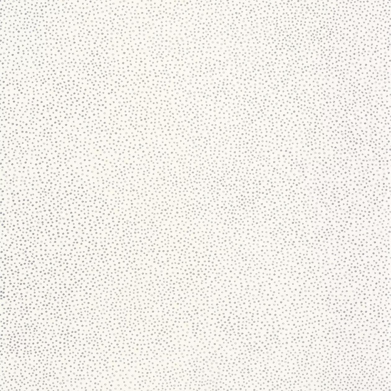 Törtfehér alapon metál ezüst apró pöttyös mintás vlies dekor tapéta
