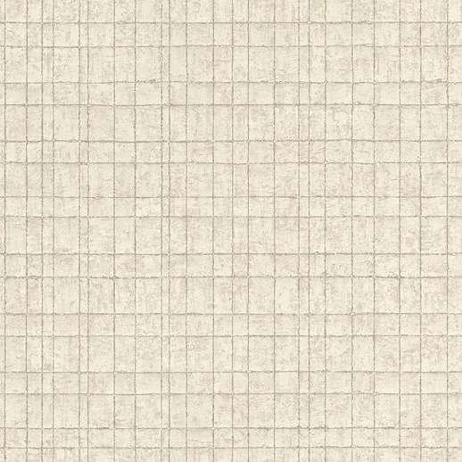Törtfehér kockás mintás vlies tapéta ezüst csíkos mintával