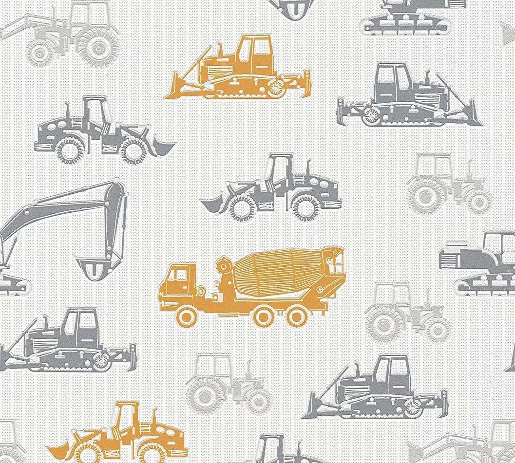 Traktor markoló mintás gyerektapéta szürke narancs színben