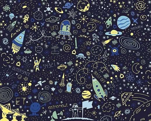 Trendi gyerekszobai vlies fali poszter rakéta és bolygó mintával