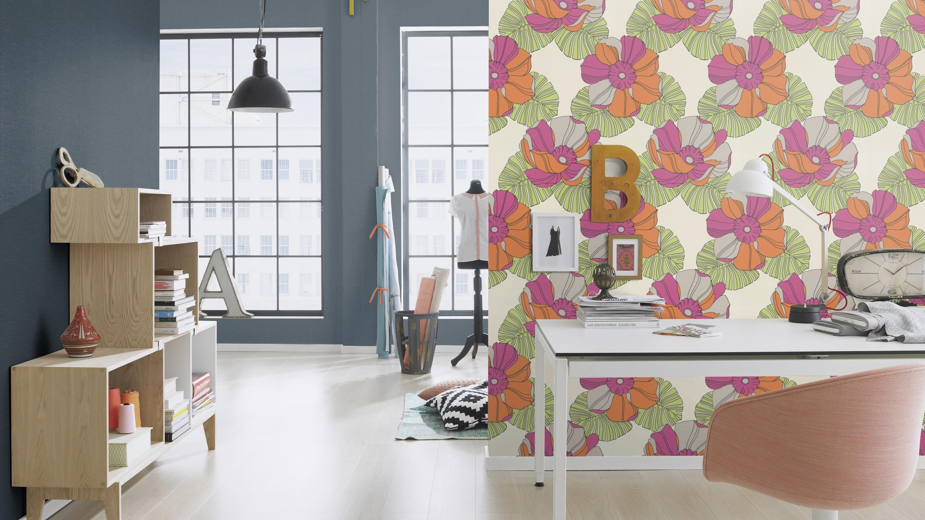 Trendi retro virágmintás színes tapéta