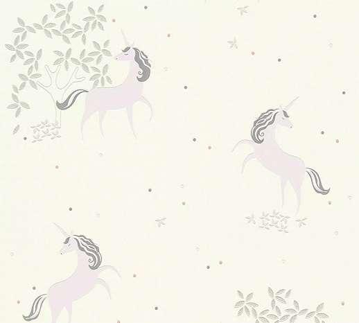 Trendi unikornis mintás gyerek tapéta szürke, lila, ezüst színekkel