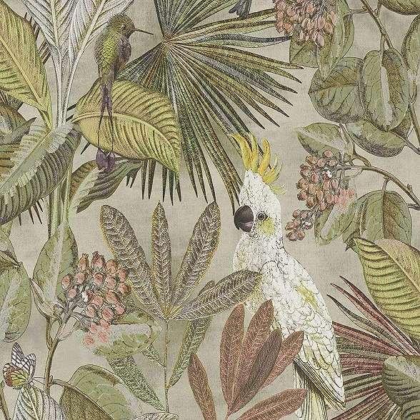 Trópusi állat és pálma mintás modern színes tapéta