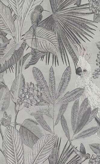 Trópusi állat mintás tapéta, egzotikus madár és pálma mintával