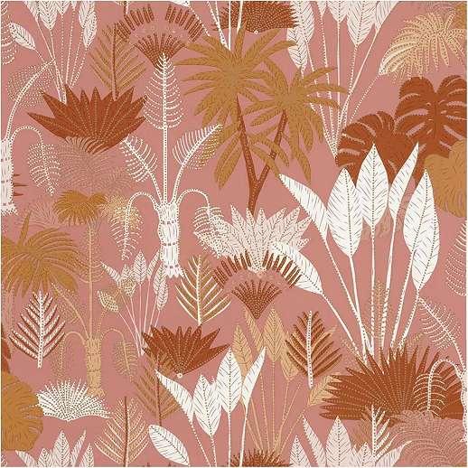 Trópusi dzsungel mintás vlies prémium tapéta aranybarna rózsaszín színvilágban